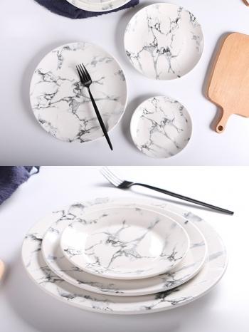【Z638062】(大)歐風簡約黑白大理石紋陶瓷餐盤/圓盤/圓碟-Soft