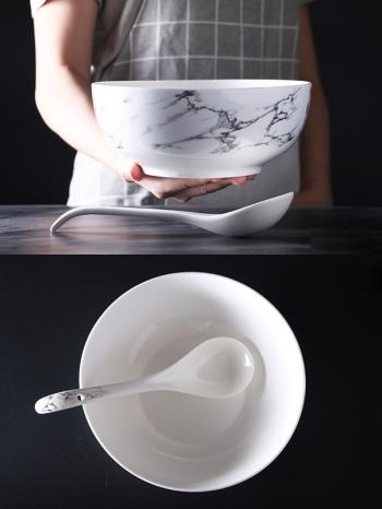 【Z638063】歐風簡約黑白大理石紋陶瓷湯碗/碗公-Soft