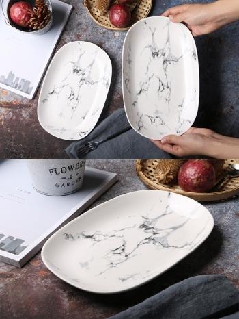 【Z638065】歐風簡約黑白大理石紋陶瓷橢圓盤/長盤/盤子-Soft