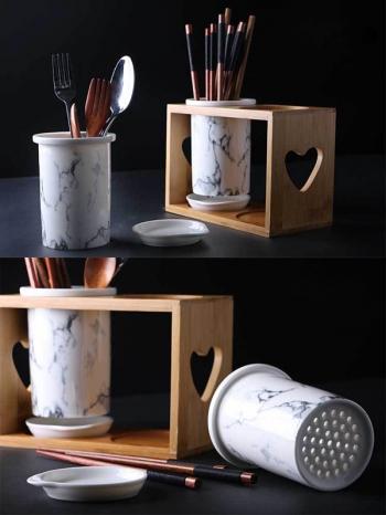 【Z638066】簡約原木加大理石紋陶瓷瀝水筷筒/餐具收納筒-Soft