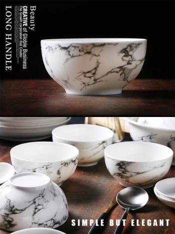 【Z638067】歐風簡約黑白大理石紋陶瓷米飯碗-Soft