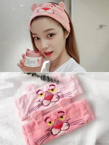 【Z635023】韓國可愛刺繡頑皮豹造型髮箍/洗臉束髮帶-Soft