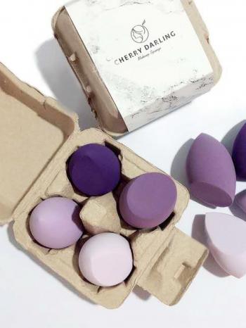 【Z635027】(4個入)可愛蛋盒裝紫色組合極軟美妝蛋/化妝球/海綿粉撲-Soft