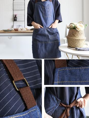 【Z638068】日式居家創意牛仔單寧布料半身圍裙-Soft
