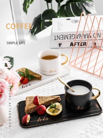 【Z638069】北歐風輕奢燙金黑白咖啡杯盤組/牛奶杯/馬克杯/杯碟-Soft