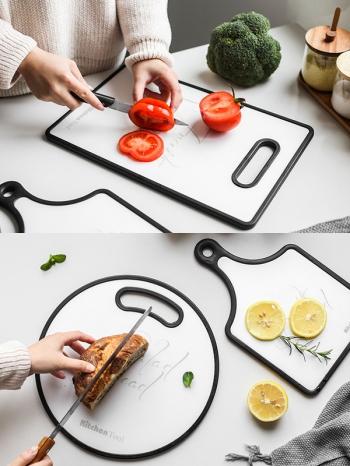 【Z638070】黑邊字母圖案蔬果砧板/麵包砧板/水果板/點心盤-Soft