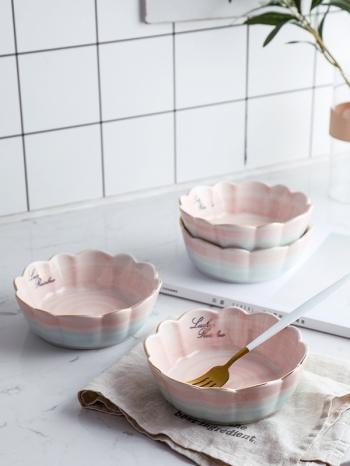 【Z638073】夢幻粉藍漸層燙金邊家用荷口沙拉碗/湯碗/麥片碗/碗公-Soft