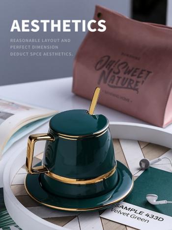【Z638074】歐式小奢華復古燙金質感綠咖啡杯盤組/禮盒組-Soft