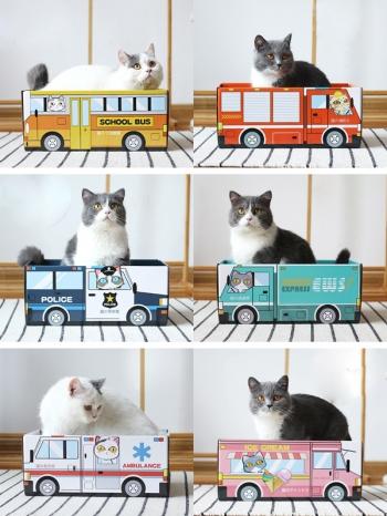 【Z636040】可愛長方車子造型貓咪小窩/瓦楞紙/貓屋/紙箱-Soft