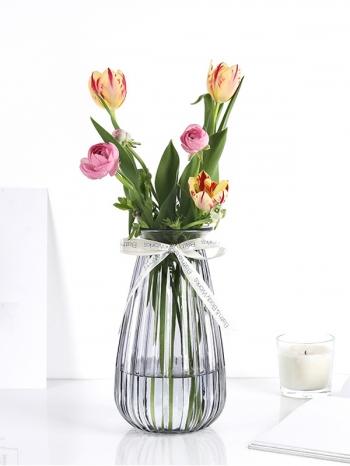 【Z633101】(大)歐式宮廷風條紋透明玻璃花瓶/花器-Soft