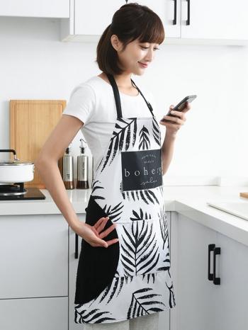【Z638096】簡約黑白北歐風居家側邊擦手用圍裙/半身圍裙-infinite