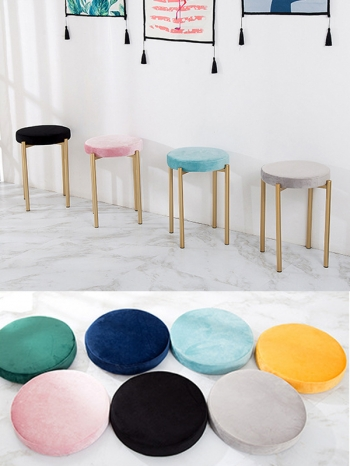 【Z633112】北歐風輕奢華感金屬絨布高腳凳/圓凳/單人椅/餐椅/椅子-infinite