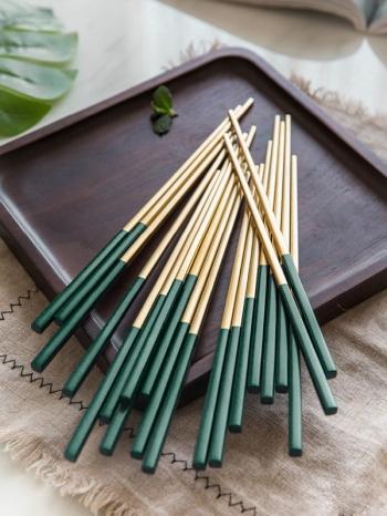 【Z638098】北歐宮廷風質感綠色不鏽鋼筷子組/餐具/5雙入-infinite