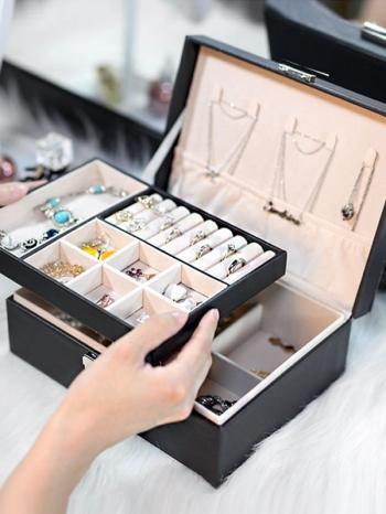 【Z632126】(雙層)簡約質感多功能大容量飾品收納盒/珠寶盒/飾品盒/首飾盒-infinite