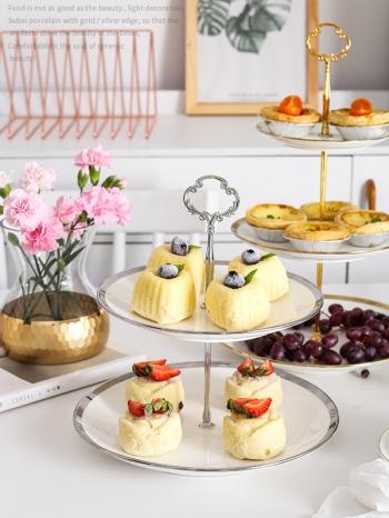 【Z638099】(雙層)歐式精緻金銀邊陶瓷蛋糕架/甜點架/點心盤-infinite