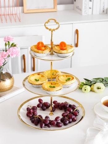 【Z638100】(三層)歐式精緻金銀邊陶瓷蛋糕架/甜點架/點心盤-infinite
