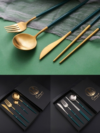 【Z638101】北歐宮廷風質感綠色不鏽鋼餐具組/刀叉組/4款入一組-infinite