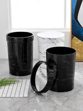 【Z632127】(小)歐式圓形壓圈無蓋仿大理石紋垃圾桶/收納桶/置物桶-infinite