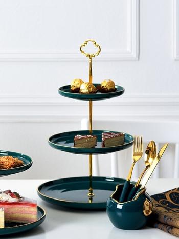 【Z638107】(三層)北歐宮廷風燙金邊質感綠色陶瓷蛋糕架/甜點架/點心盤-infinite