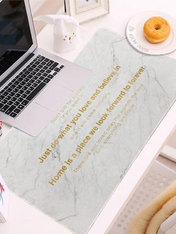 【Z639029】北歐風質感寬版大理石紋燙金字滑鼠墊/桌墊/鍵盤墊/防滑墊-infinite
