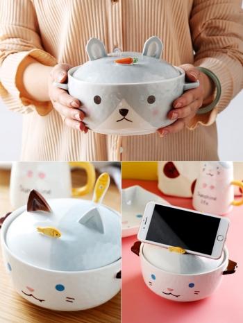 【Z638112】可愛貓兔造型含蓋手機架泡麵碗/陶瓷碗/湯碗-infinite