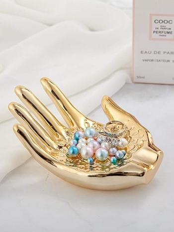 【Z632138】奢華金手掌造型飾品收納盤/首飾盤/展示道具-refreshing