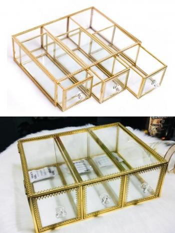 【Z632140】奢華銅條花金邊玻璃防塵收納抽屜/收納盒/收納箱-refreshing