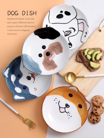 【Z638113】可愛汪星人卡通圖案早餐盤/點心盤/盤子-refreshing