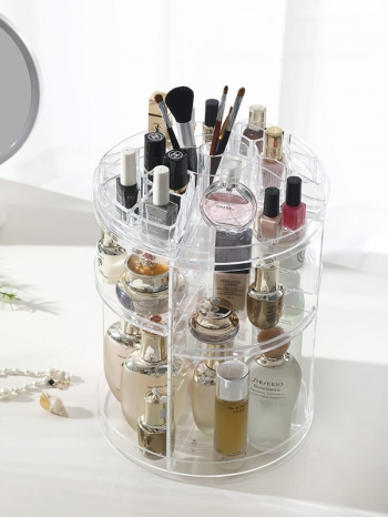 【Z632143】(三層)360度旋轉設計化妝品保養品壓克力收納櫃/收納盒/收納架/置物架-refreshing