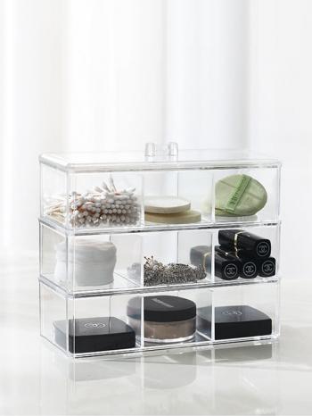 【Z632144】透明簡約三層三格防塵壓克力收納盒/飾品盒/置物盒-refreshing