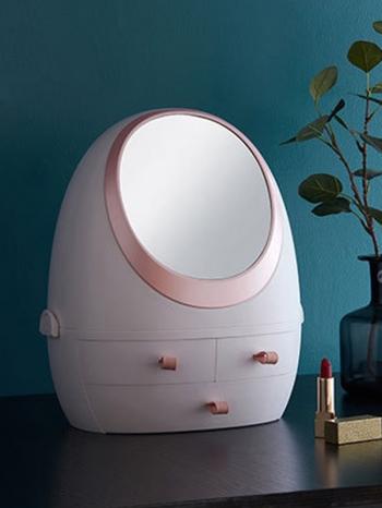 【Z632148】(普通款)橢圓造型鏡子多格抽屜化妝品收納櫃/收納盒/置物盒-refreshing
