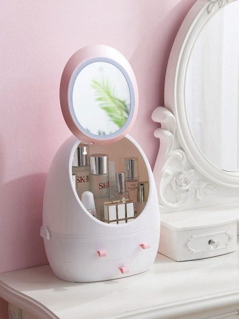 【Z632149】(LED款)橢圓造型鏡子多格抽屜化妝品收納櫃/收納盒/置物盒-refreshing