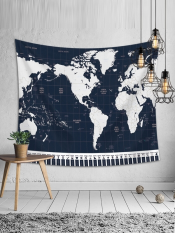 【Z633121】(小)北歐風質感世界地圖加絨款掛布/壁掛裝飾/沙灘巾/桌布/牆面裝飾-refreshing