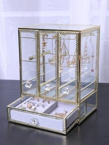 【Z632152】復古宮廷風金邊大容量飾品收納架/收納盒/耳環/項鍊/戒指-refreshing