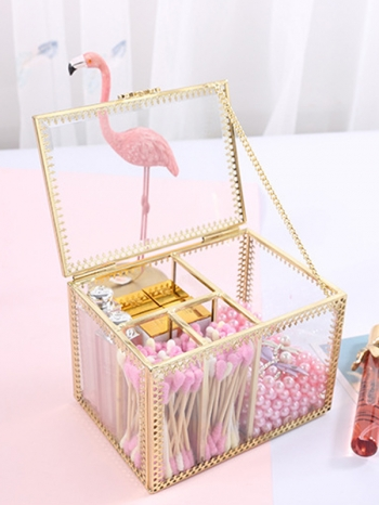 【Z632153】復古宮廷風金邊化妝棉收納盒/棉花棒/收納筒-refreshing