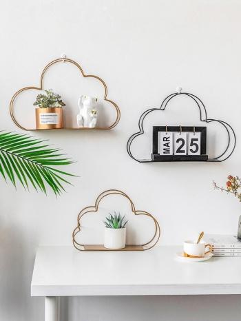 【Z632156】雲朵造型鏤空鐵藝牆面置物架/掛件/牆壁裝飾-refreshing