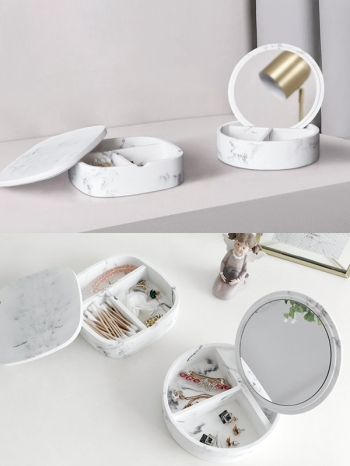 【Z632159】(收納盒)北歐風簡約白色大理石化妝鏡收納盒/鏡子-refreshing
