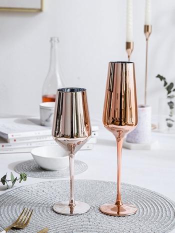 【Z638115】玫瑰金電鍍無鉛玻璃紅酒杯/香檳杯/勃根地杯/高腳杯-refreshing