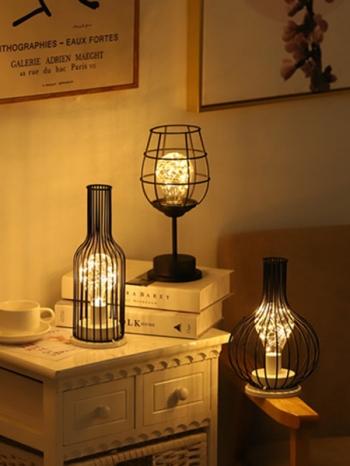 【Z633123】工業風鐵藝酒杯造型LED夜燈/床頭燈/座燈-refreshing