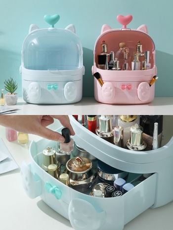 【Z632181】可愛少女心貓掌造型化妝台收納盒/置物盒/收納籃-value