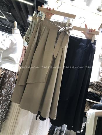 【Z921118】雪紡鬆緊綁帶長裙