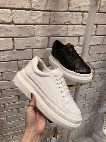 【Z921133】皮質鞋帶厚底鞋