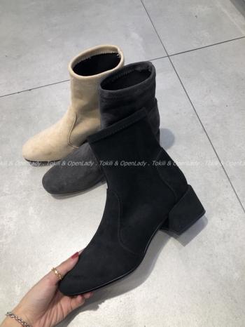 【Z921135】絨布低跟中筒靴