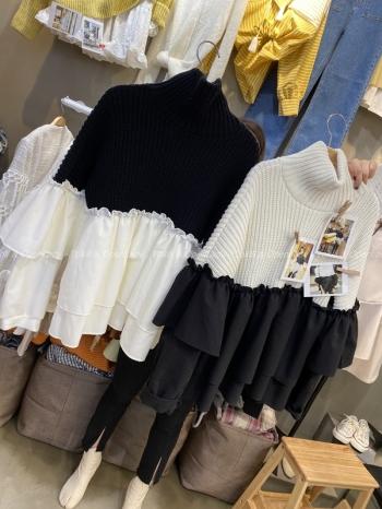 【Z921190】針織雪紡拼接上衣