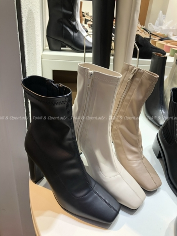 【Z921240】方頭高跟中筒靴