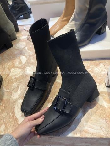 【Z921255】低跟皮質拼接襪靴