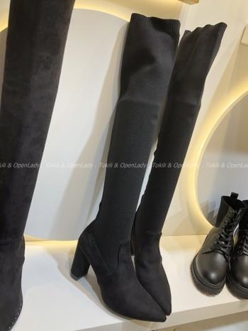 【Z921256】尖頭皮質拼接長襪靴
