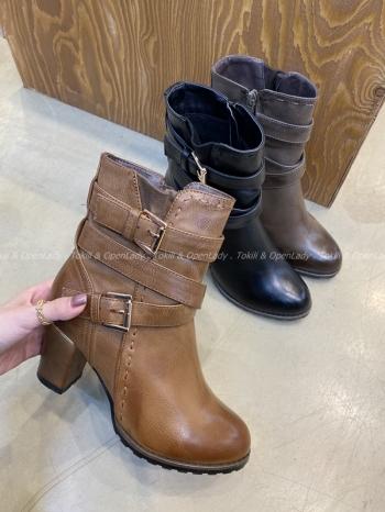 【Z921328】皮革繞帶中筒靴