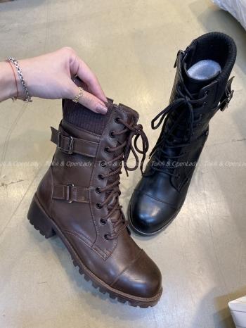 【Z921332】皮革拼接中筒軍靴
