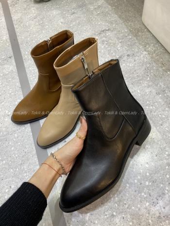 【Z921333】皮質寬口中筒靴